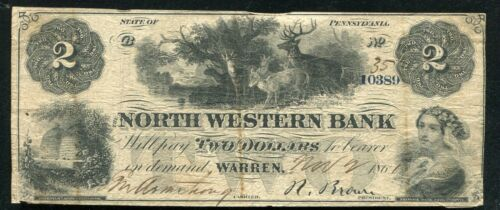 1861 $2 THE NORTH WESTERN BANK WARREN, PENNSYLVANIA OBSOLETE CURRENCY NOTE