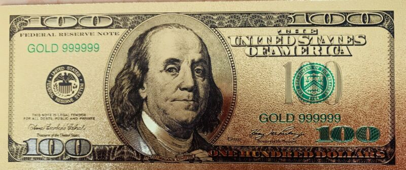 One (1) US High Quality $100 Banknotes USD 24k Gold Foil Paper Money Dollar-A