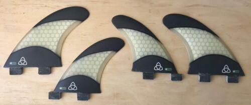 Medium Fiberglass Surfboard Fins - Quad (Set of 4) White Carbon Fiber, FCS