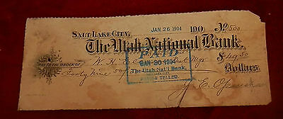 1904 Slc Utah State National Bank Check No 500 22Nd Ward Co Op Lds Mormon