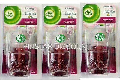 3 x AIR WICK PLUG IN REFILLS SMOOTH SATIN AND MOON LILY ELECTRIC SPECIAL OFFER