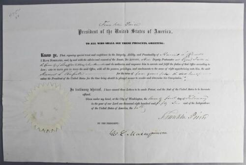 Franklin Pierce 1856 Document Signed as President - Great Autograph