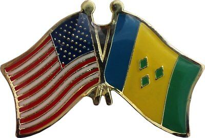 Wholesale Pack of 50 USA American St Vincent Friendship Flag Hat Cap lapel Pin