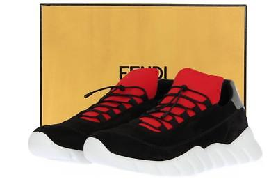 NEW FENDI ROMA SPORTY BLACK SUEDE LOW-TOP SNEAKERS SHOES UK 10/US 11
