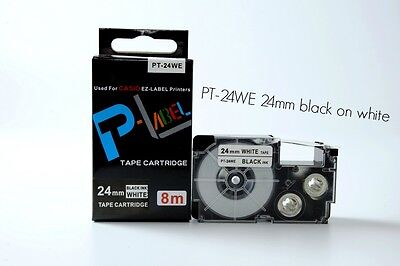 Xr-24we Compatible Casio Black On White 24mm 8m Label Tape 1 X 26 Xr-24we1