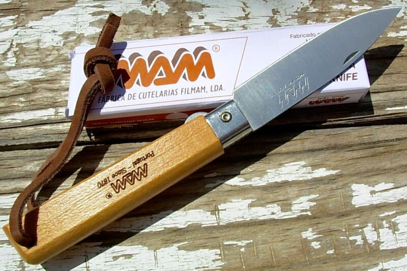MAM Portugal knife 2038 linerlock folder leather lanyard like Opinel camp picnic