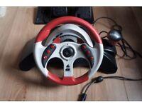 Mad Catz MC2 Steering Wheel & Pedals for Gamecube, PS2 & Original Xbox