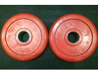 2 x 5Kg Olympic Rubber Weight Plates