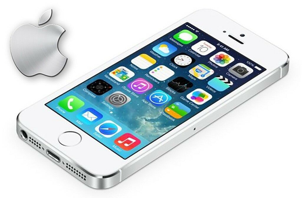 **APPLE IPHONE 5S 16GB WHITE & SILVER SMARTPHONE BOXED complete with MANUALS, HEADPHONES A1429 VGC