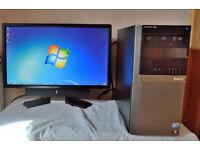 "DELL OPTIPLEX 980 TOWER PC COMPUTER & 24"" DELL WIDESCREEN LCD LED MONITOR INTEL I7 8GB RAM 120GB SSD"