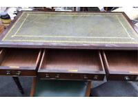 Antique Leather Office Writing Desk