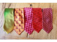 5 GUCCI Designer gents / mens 100% Silk neck ties - Made in Italy