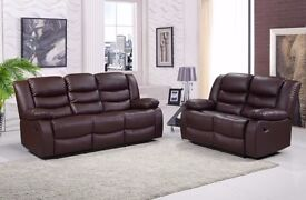 Rachel Luxury 3&2 Bonded Leather Recliner Sofa Set With Pull Down Drink Holder