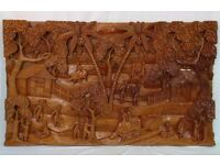 Beautiful Stunning Wooden Carving Picture of Eastern Village Scene