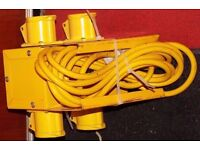 4 Way Junction Box Splitter Plus Cable Extension, Plugs, Three Phase Sockets