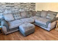L shape corner sofa, cuddle swivel chair, foot stool