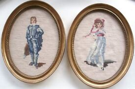 Pair of Framed Needlepoint Pictures Depicting The Blue Boy and Pinkie