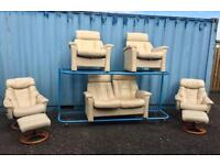 Ex Display cream Italian leather suite (Delivery Included)
