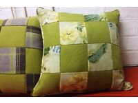 Hand Made Cushions. Beautiful Green / Grey Patchwork and Zipped along the Side.