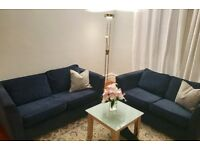 Dark Blue Fabric Sofa - Excellent Condition (one or both for sale)