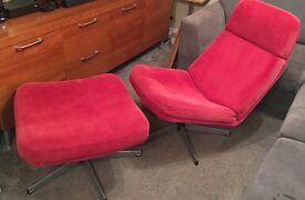 GORGEOUS IKEA red swivel chair & matching swivel footstool, great condition