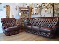 Thomas Lloyd Chesterfield Vintage Leather 3 Seater Sofa & Armchair Ox Blood