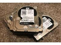 4 x WD Black 4TB performance Internal Hard Drives (WD4003FZEX) 3.5 inch . Good condition.