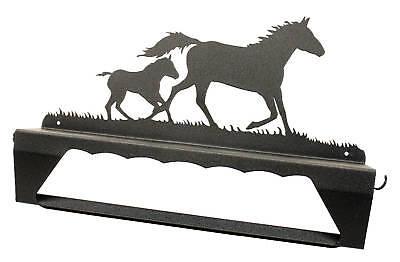 Mare & foal horse black metal towel bar & shelf Horse Towel Bar