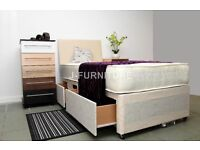 "DIVAN BED WITH REAL ORTHOPAEDIC 10"" MEDIUM FIRM MATTRESS! 100% CHEAPEST ON-LINE.STORAGE HEADBOARD"