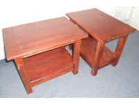 Pair of Solid Pine Side Tables with Shelf - to paint