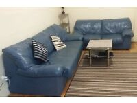 Leather, Blue 3 & 2 Seater Sofa Set Bundle With Coffee Table and Large Rug , in good condition