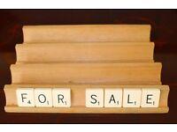 Four Wooden original Scrabble Tile Racks.