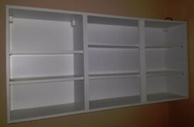 White Wickes wall mounted cupboards