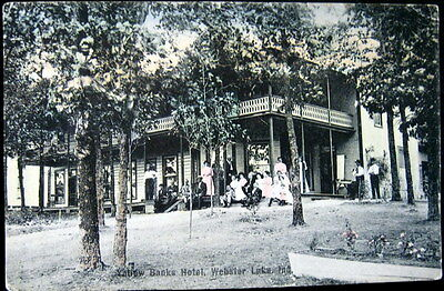 Webster Lake In   1910 Yellow Banks Hotel   Victorian Ladies In Pink