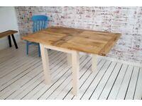 Petite Square Leg Extending Rustic Farmhouse Dining Table Painted Finish