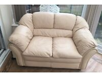2 seater cream leather sofa barely used