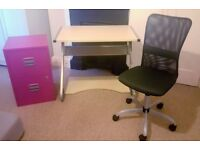 Desk chair and filing cabinet. Can be sold separately.