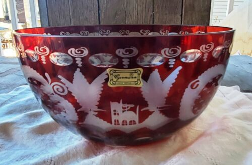 """Egermann Bohemian Ruby Red Cut to Clear 8"""" Bowl Stags and Birds - New"""