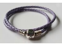 31851b5b6 Pandora Lavender Braided Leather Bracelet double wrap 36cm