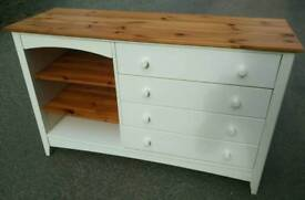 Shaker style pine top chest of drawers with shelves