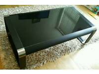 Modern coffee table glass and metal