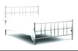 Used IKEA double bedframe (silver metal) with sprung slats for sale