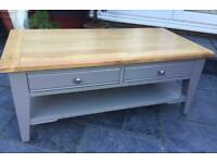 Coffee Table- Through Drawers - Grey & Oak