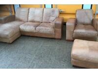 Leather corner sofa + chair + footstool - Free Local Delivery