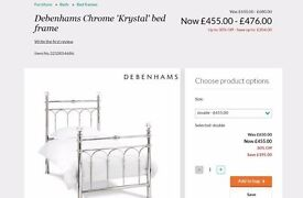 NEW BENTLEY DESIGNS KRYSTAL SHINY CHROME DOUBLE BED CAN DELIVER View / Collection in Kirkby NG177