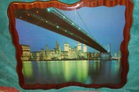 Scenic picture. Twin towers.bridge.water