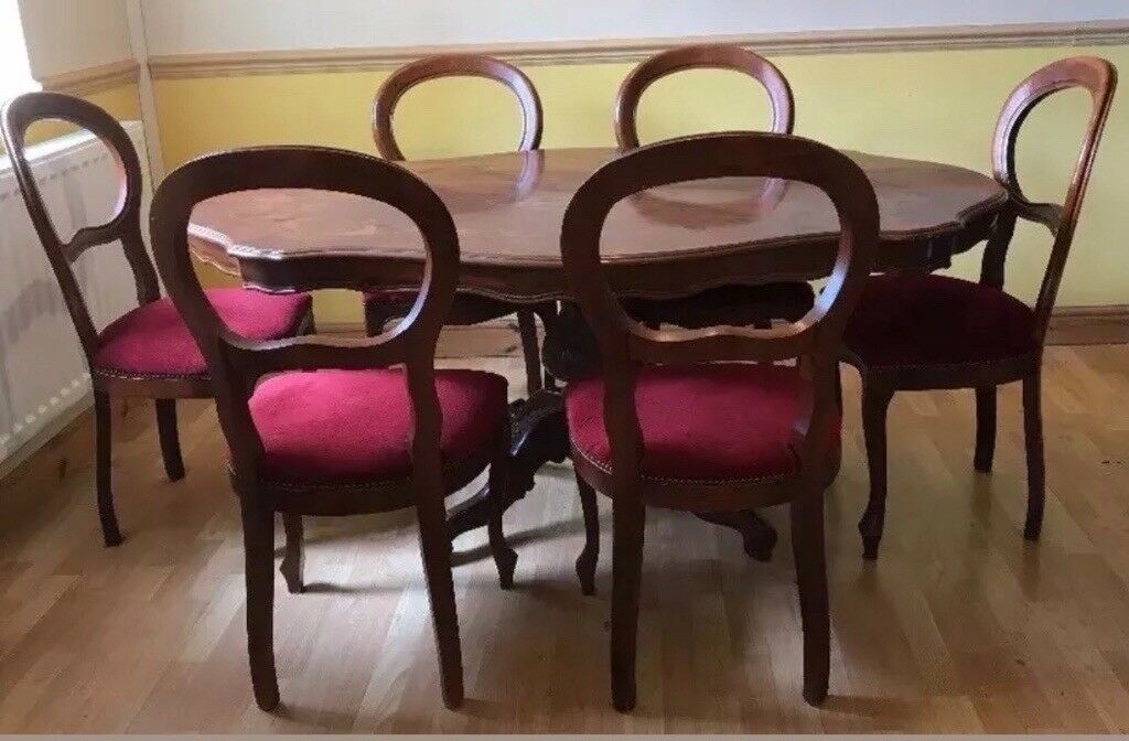 Mahogany Dining Table And 6 Chairs Italian Style Burgundy Crushed Velvet Seats In Redditch Worcestershire Gumtree