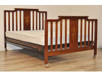 """Attractive Antique Edwardian Inlaid Mahogany Spar Back 54"""" Double Bed, Mattress"""
