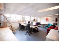 Large desk spaces, Hackney Wick/Fish Island. In converted warehouse on the River Lea. 250MB Internet