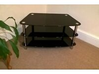 Toughened Glass Black 3 Tier TV Stand
